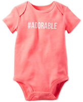 Carters Short Sleeve Adorable Bodysuit One Piece Baby Girl Gift Size 3 Months