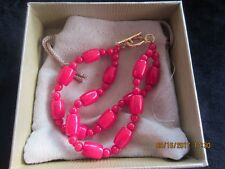 MIXED SHAPES RED CORAL 18K GOLD/STERLING SILVER MULTI STRAND BRACELET