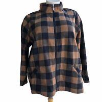 DENIM CO. Plus 3X Chestnut Printed Fleece Zip Front Pocket Long Sleeve Jacket