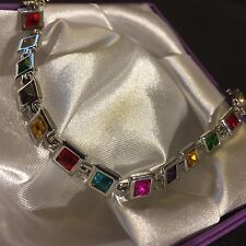 "GB Multicoloured Square Gems White Gold GF Bracelet 18cm/7"" Boxed Plum UK"