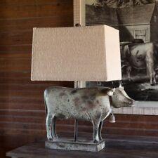 Metal Cow Table Lamp Burlap Shade
