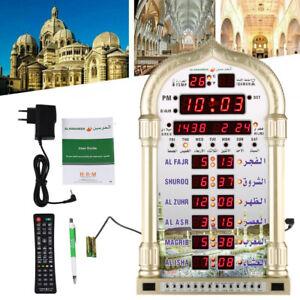 Digital  Azan Adhan Clock Islamic Muslim Prayer Mosque Decoration+Remote Control