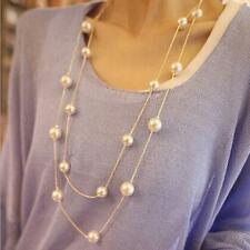 Fashion Women Multilayer Long Pearl Necklace Pendant Sweater Chain Jewelry Charm