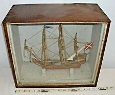 WOODEN TALL WAR SHIP MODEL HAND BUILT IN GLASS CASE