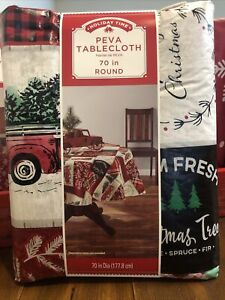 """Holiday Time Red Truck Tile tablecloth 70"""" round Flannel Inside NWT"""