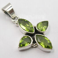 Sterling Silver Genuine Peridot Necklace Pendant Women's New Jewelry