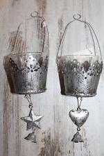 2er Set Windlicht Teelicht Stern Herz Glocke silber Weihnachten shabby vintage