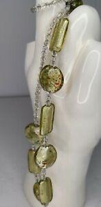 Vintage Green Italian Murano Millefiori Capped Art Glass Bead Necklace