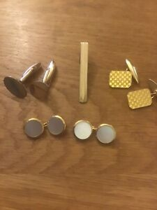 3 Pairs Of Cuff Links ( 1. Mother of Pearl) and a Tie Pin