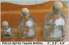 """(Lot of 3) Patron Spirits Tequila Bottles, 2"""" + 3.5"""" + 4.5"""", all in good un-used"""