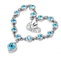 18K White Gold Plated CZ Rhinestone Crystal Love Hearts Aquamarine Bracelet