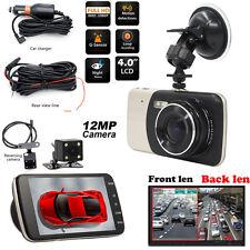 "Dual-Cam Car Dash Dashboard Video Reversing Camera 4"" 1080P DVR Kit GPS G-Sensor"