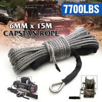 15mx6mm Winch Rope Synthetic 7700lbs Line Cable Car Strap 4WD AVT Boat   ✌
