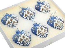 Czech blown glass hand painted blue heart Christmas tree ornaments; (6)