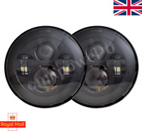 "PAIR LED BLACK Headlights RHD E MARKED 7"" H4 for Land Rover Defender 90 110"