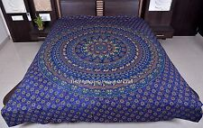 Indian Handmade Hippie Elephant Mandala Queen Size Bed Cover Tapestry Ethnic Art