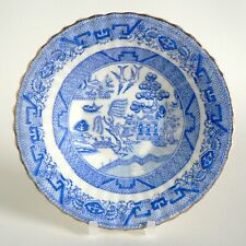 "ANTIQUE PORCELAIN 6"" DISH FLUTED GILT RIM WILLOW PATTERN BLUE & WHITE TRANSFER"