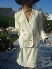 LUXUS GLITZER Escada STRICK TWEED BOUCLE knit Rock skirt Spitze white40/42 NP980
