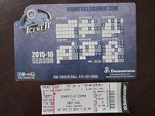 EVANSVILLE Icemen 2015-2016 SGA Hockey MAGNET SCHEDULE & Game Ticket LOT