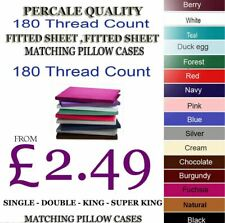 Fitted Bed Sheet Percale T180 Thread Count Single Double King 4FT OR Pillowcases