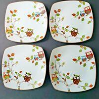 "Pier 1 Salad Plates Enchanted Woods Porcelain Owls 8"" Square SET OF 4 Retired"