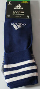 adidas Copa Zone Cushion Soccer Socks, Blue/Whiet/Grey, Size Large, 5143272D