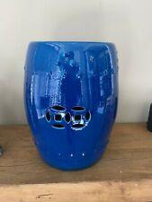 Turquoise Blue Handmade Porcelain Garden Stool