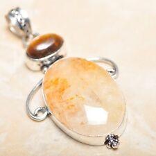 "Handmade Calcite Jasper Gemstone 925 Sterling Silver Pendant 2.5"" #P15080"