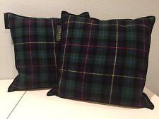 Set of 2 Ralph Lauren Tartan Plaid Throw Pillows Blue Green Red Yellow