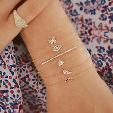 6Pcs/lot Butterfly Eye Star Moon Leaves Crystal Shiny Gold Multilayer Bracelet