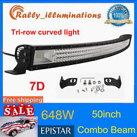 7D TRI-ROW 50INCH 648W CURVED LED LIGHT BAR DRIVING OFFROAD COMBO DRL SUV PK 52""