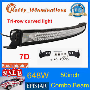 """7D TRI-ROW 50INCH 648W CURVED LED LIGHT BAR DRIVING OFFROAD COMBO DRL SUV PK 52"""""""