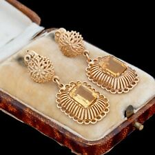 Antique Vintage Art Deco Retro 14k Yellow Gold Citrine Filigree Dangle Earrings