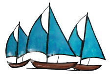 "Contemporary Metal Wall Art Decor Sculpture 3 Sailing Boats At Sea 13"" long BLUE"