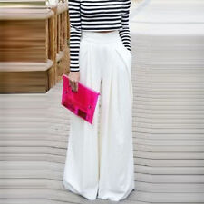 Women Ladies Trousers Solid Palazzo Wide Leg High Waist Long Loose Casual Pants