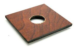 "Original Burke & James 4-1/2 x 4-1/2"" 114x114mm Wooden Lens Board W/Hole 34,3mm."
