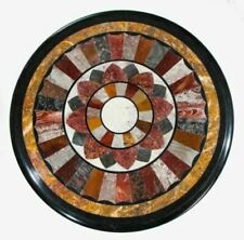 "18"" black Coffee Center Table Top Marble Inlay Pietra Dura Art For Home Decor"