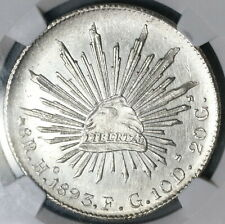 1893-Ho NGC MS 62 Mexico 8 Reales Hermosillo Mint State Silver Coin (19042203C)