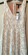 BCBGMAXAZRIA Womens A-Line Dress Off White Lace Sleeveless Cut-Out Back NEW XS