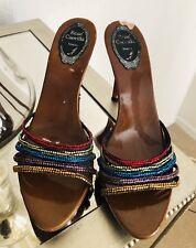 RENE CAOVILLA Wooden Rhinestone Rainbow Heels Shoes Sandals Sz 8