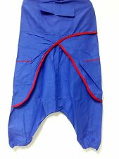 Indian Blue Sarong Harem Pants Gypsy Yoga Baggy Genie Hippie Drop Crotch Trouser