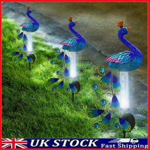 Solar Powered Peacock Light Outdoor Garden Decor Exotic Bird w/Rain Gauge Statue
