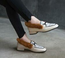 Womens new Fashion Leather Tweed Rabbit Fur Trim Slip On Court Shoes Loafers MAC
