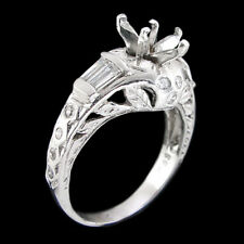 Marquise Semi Mount Engagement Ring Setting with Diamonds in White Gold Fits 1CT