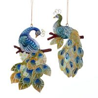 Peacock Birds Christmas Holiday Ornaments Set of 2 Tin 6.5 Inches