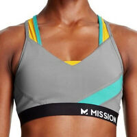 Womens Mission Sports Bra Quiet Shade/Viridian Green/Gold Fusion Size XSmall
