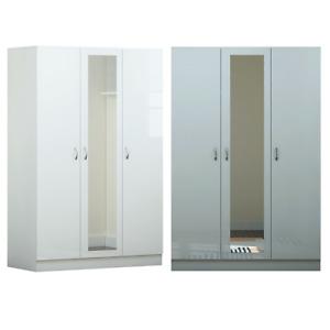 3 Door Glossy Mirrored Wardrobe - Grey/ White - Modern Bedroom Furniture
