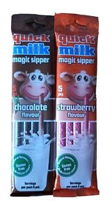 Quick Milk Magic Sippers -STRAW & CHOC FLAVOUR (2x5) 10 Straws in total
