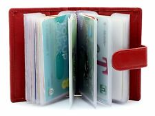 New Unisex Credit Debit Card Holder Real Soft Leather Card Case Wallet 210-Red