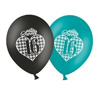 "Sweet 16 Argyle 12"" Printed Black & Turquoise Assorted Latex Balloons pack of 20"